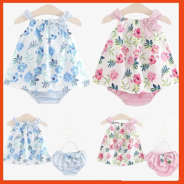 Sét váy hai dây kèm quần chip dễ thương cho bé gái mặc hè kiểu Hàn Quốc TTS226