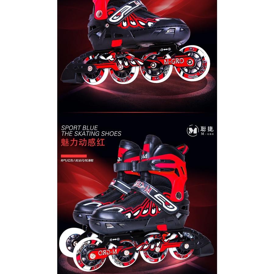 Giày Patin M- Gro 918H Bánh CAO Su Phát Sáng 8 bánh cao cấp NEW (Đỏ M,L)