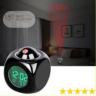 Đồng hồ báo thức 3D đèn LED chiếu trần xem giờ chuẩn Châu Âu thời thượng