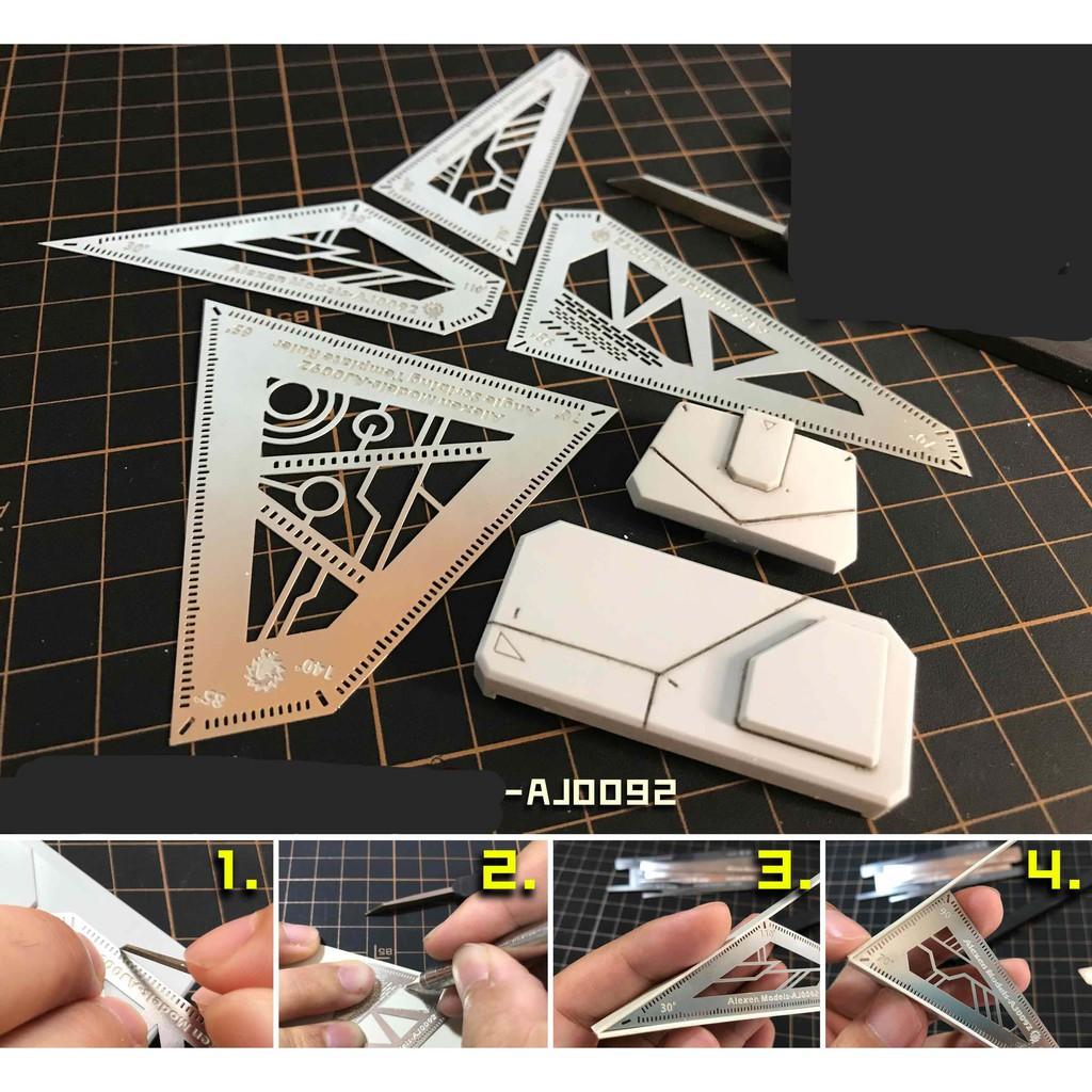 Dụng cụ hỗ trợ kẻ tạo line AJ0090 0091 0092 0093 Alexen hobby Armor Edge Engraved Line GJ003 GJ009