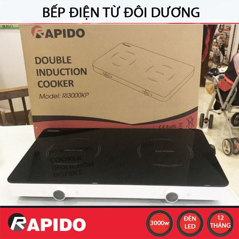 Bếp điện từ đôi dương Rapido RI3000KP công suất 3000W - Hàng chính hãng, bảo hành 12 tháng