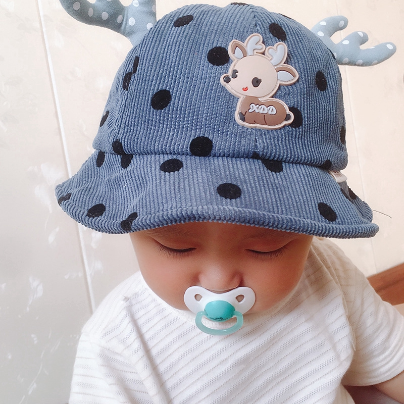 Baby hat spring and autumn baby hat 6-12 months Korean version of the child cute deer fisherman hat