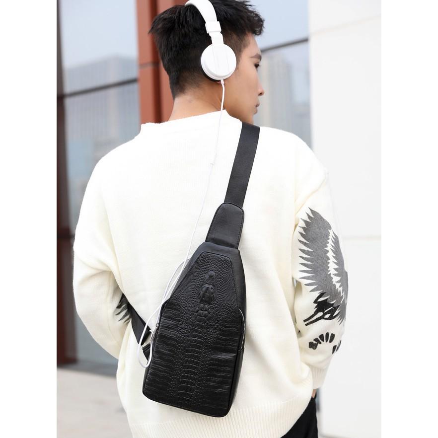 Túi đeo chéo nam da thật vân da cá sấu dập nổi hot 2019