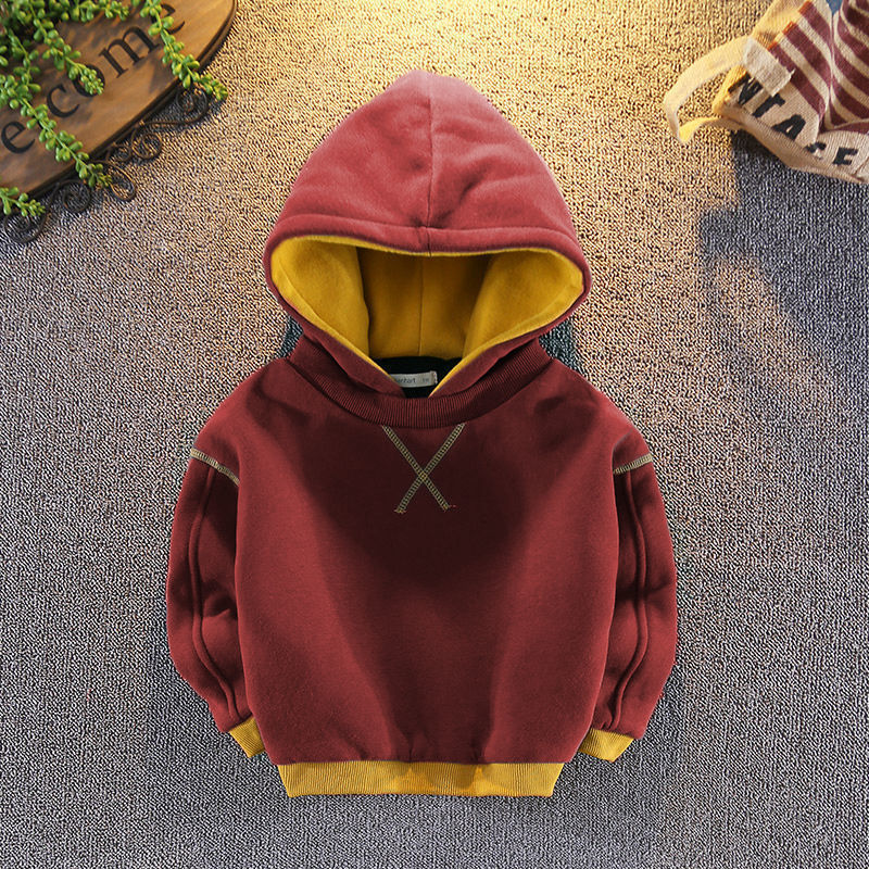 Best Friend Xin Boys Winter Clothing Sweater Girls' Korean-Style Double-Layer Fleece-Lined Thickened Children's Hoodie Fleece Shirt Autumn and Winter Clothing Baby's Top Fashion