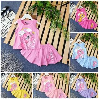 Bộ Sét Váy áo Đầm Pony bộ chân váy Pony cho bé gái kèm quần chip đùi trong thun cotton size đại 8-14