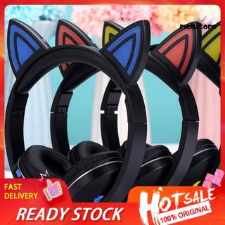 Tai Nghe Bluetooth Không Dây Hình Tai Mèo Dễ Thương Có Thể Gấp Gọn