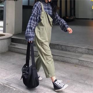 [ ORDER ] quần yếm khaki dài ulzzang / quần yếm ống rộng kaki xanh rêu và đen