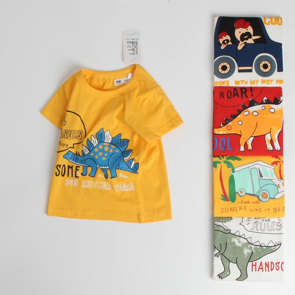 Áo thun bé trai 27 kids chính hãng, áo bé trai vải cotton 100% in hình khủng long, ô tô, máy bay