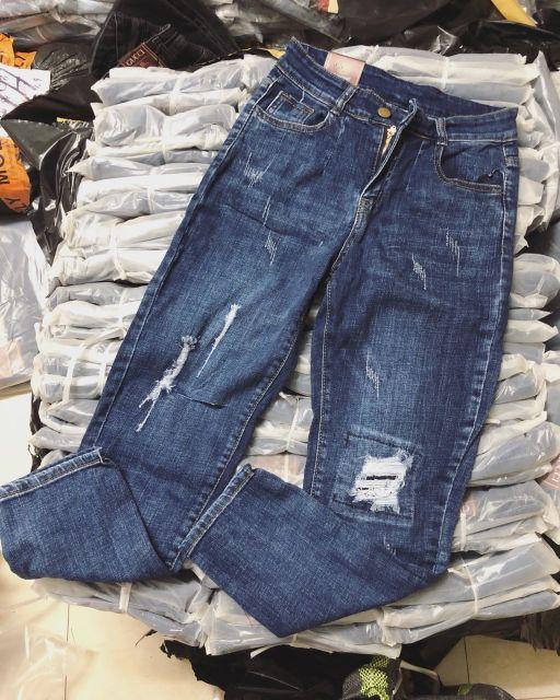 Quần bò jeans boy rách gối style năng động cực chất