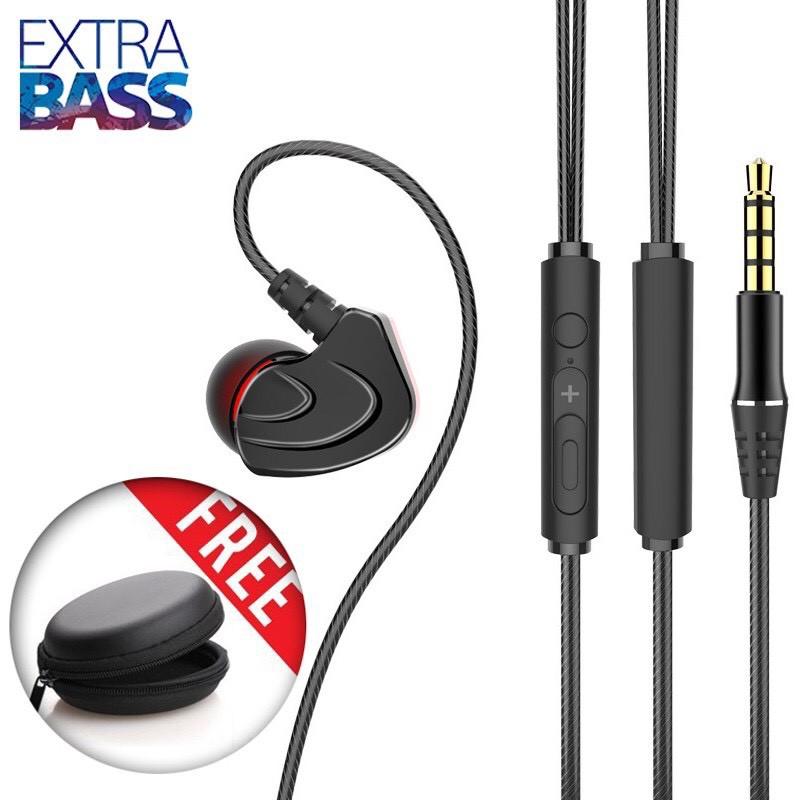 Tai nghe móc tai cao cấp Extra Bass, siêu cách âm, tặng kèm hộp đựng