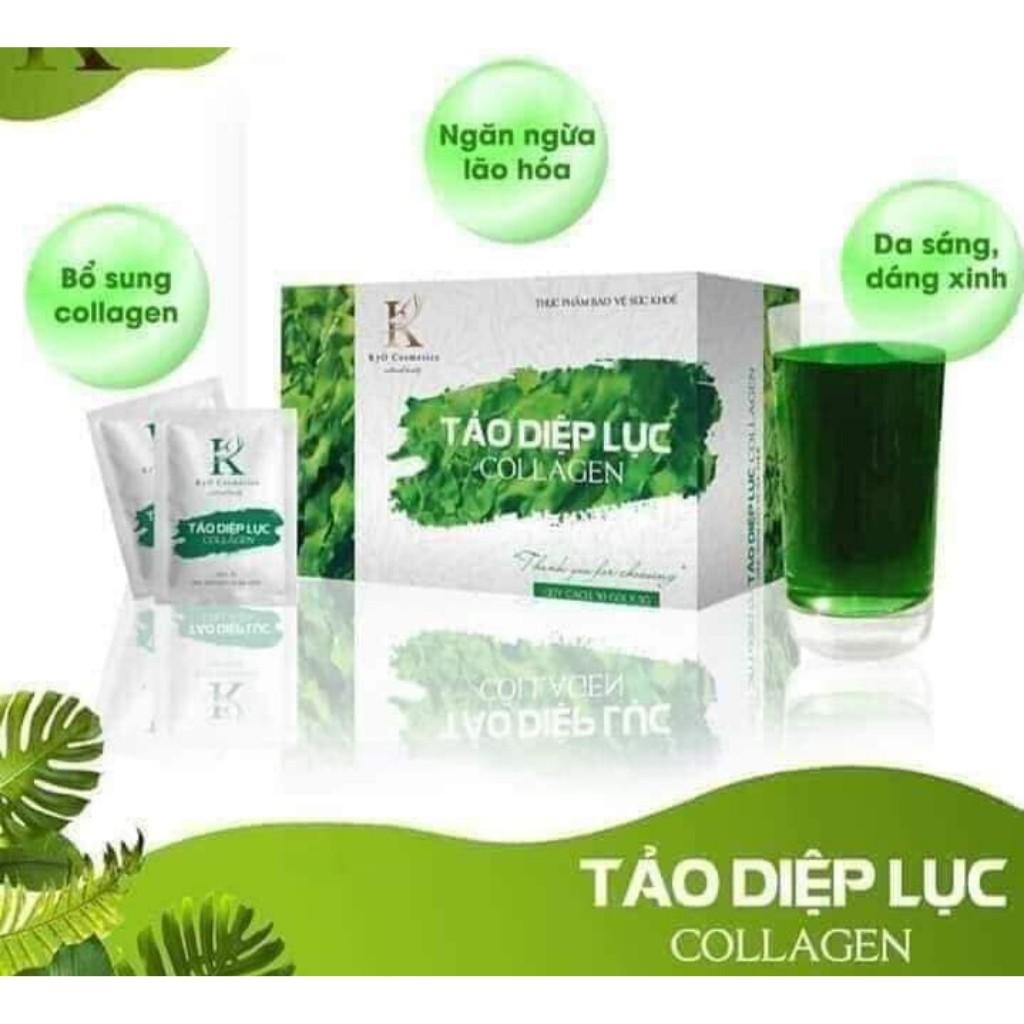 [Sỉ rẻ số lượng lớn] Tảo diệp lục collagen chính hãng, trị mụn, nám, tàn nhang, hộp 30 gói