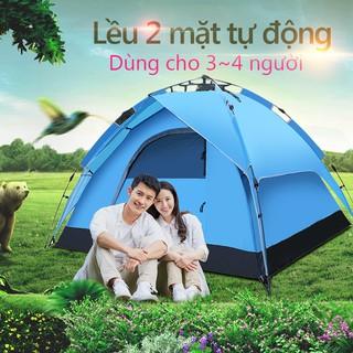 Lều dã ngoại tự động giá đỡ thủy lực 3-4 người hai tầng lều cắm trại, lều câu cá, lều bãi biển hai lớp chống nắng thoáng