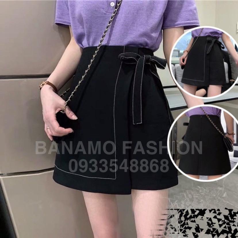 Chân váy chữ A cạp cao trơn chỉ nổi có nơ buộc Chân váy chữ A ngắn Hàng may kĩ có quần lót cao cấp Banamo Fashion 5317