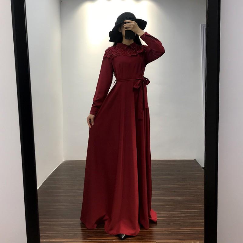 đầm maxi tay dài phối ren hoa cho phụ nữ islam