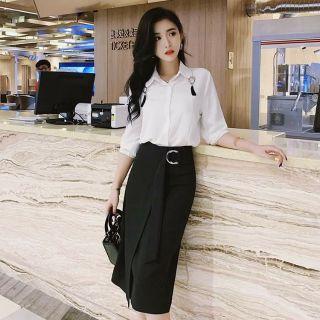 Váy công sở thiết kế đai dây 2020