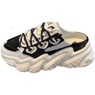 Fashion Trending Women's Shoes Comfort Trend Half Slippers Women 2021 New Outdoor Baotou Platform ShoesinsHong Kong Style All-Matching Sneakers