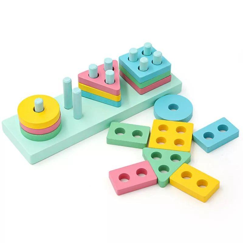 Đồ chơi gỗ giáo dục thả hình 4 trụ khối mẫu mới cho bé