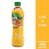 Lốc 6 Chai Chanh Dây Và Hạt Chia Fuzetea+ (450ml / Chai)