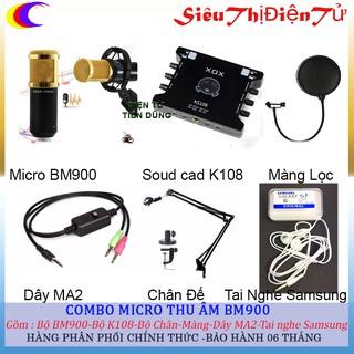 COMBO BỘ LIVESTREAM BM900 SOUND CARD KS108 CHÂN MÀNG TAI NGHE SAMSUNGG