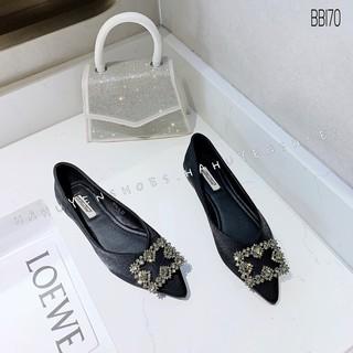 Bệt nữ HHS nhung khóa đá lòng 4 cánh Hà Huyền Shoes - BB170
