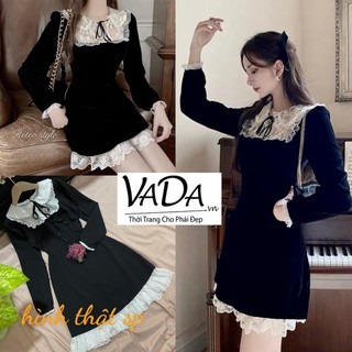 Đầm dự tiệc tay dài màu đen cổ sen tiểu thư, phối ren siêu yêu tại Thời trang VADA - V12 thumbnail