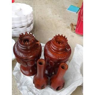 Cặp đèn thờ gỗ Hương cao 50cm
