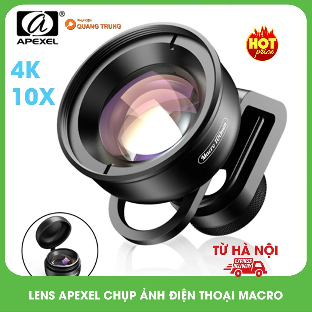 Lens,ống kính macro apexel dành cho điện thoại,10x,chuẩn hình ảnh 4K