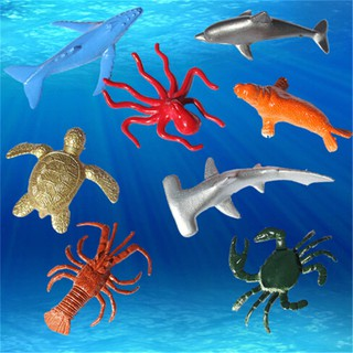 8PCS Plastic Sea Marine Animal Figures Ocean Creatures Shark Whale Kids Toy