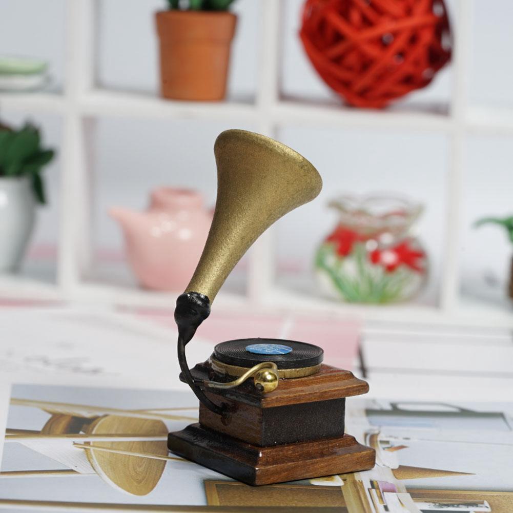 1:12 Doll House Mini Living Accessories Retro Phonograph