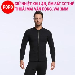 Áo lặn biển nam dài tay độ dày vải 3mm POPO MY031 áo lặn giữ nhiệt giữ ấm cơ thể thợ lặn thumbnail