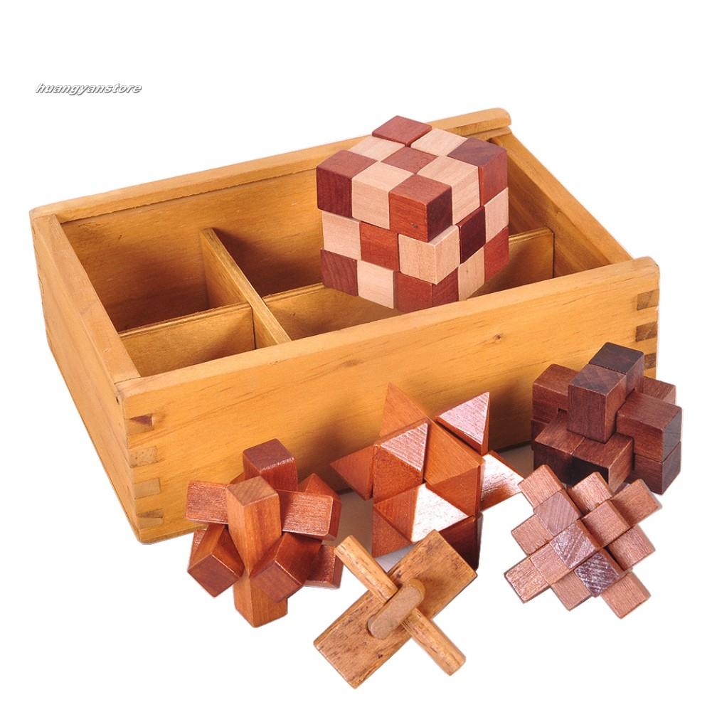 Bộ 6 món đồ chơi giải khóa Luban thông minh bằng gỗ