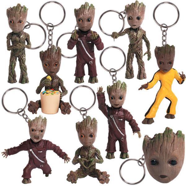 Creative Guardians Galaxy Tree Baby Groot Shaped PVC Figure Model Key Chain