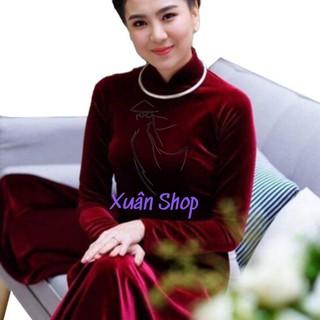 Áo dài nhung đỏ đô đậm / áo dài nữ / áo dài truyền thống
