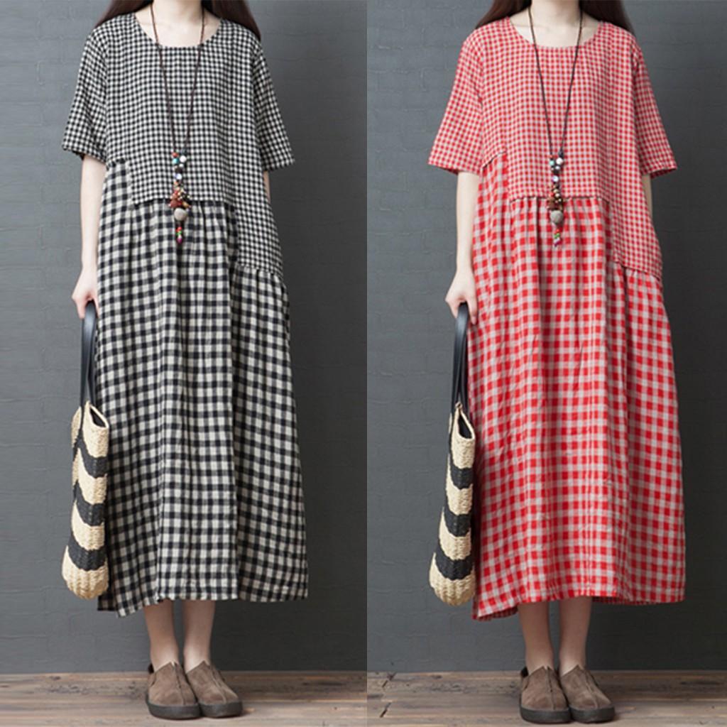❤leeesins❤ Women Cotton Linen Plaid Dress O-neck Short-sleeve Loose Plus Size Dress