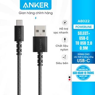 Cáp sạc Type C ANKER PowerLine Select+ USB-C ra USB 2.0 dài 0.9m - A8022 thumbnail