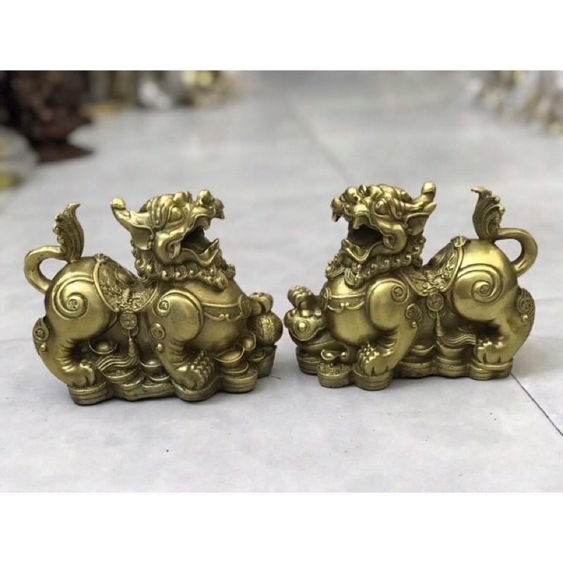 Cặp tỳ hưu như ý bằng đồng vàng nguyên chất, tỳ hưu đổng  tỳ hưu tài lộc phong thủy