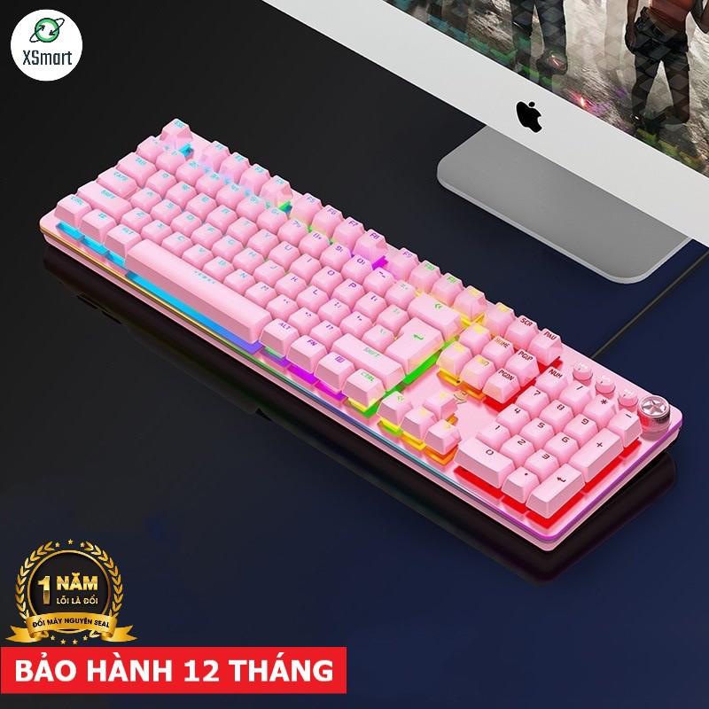 Bàn phím cơ gaming máy tính laptop pc G900 LED đổi màu nhiều chế độ, blue switch kết nối USB, 3 màu đen trắng hồng