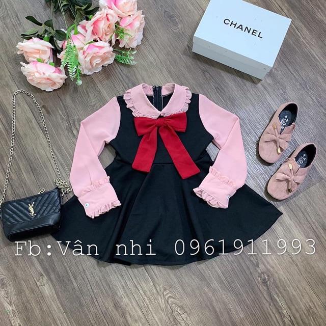 Váy TIỂU THƯ bé gái tay hồng cổ nơ cực xinh
