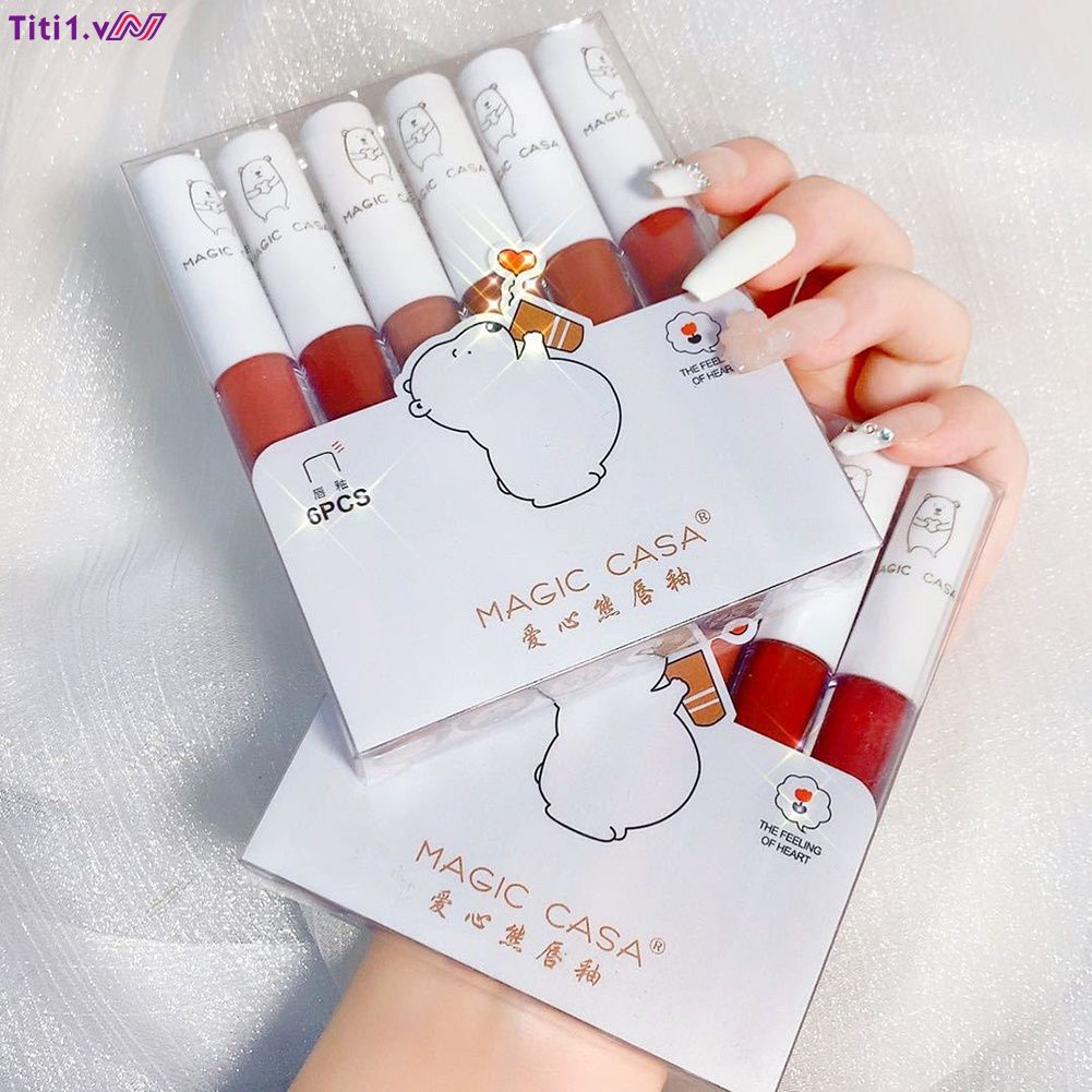 【Trong kho】 MAGIC CASA love bear lip glaze sáu bộ son môi không phai màu son lì dưỡng ẩm môi bùn
