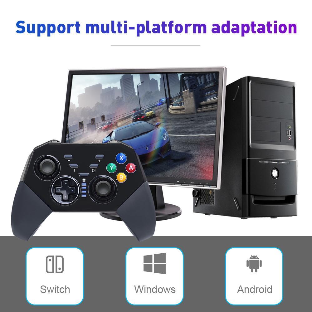 Tay cầm trò chơi không dây Bluetooth Bộ chuyển đổi Rung Dòng trò chơi pin cho Switch Pro Gamepad Android thumbnail