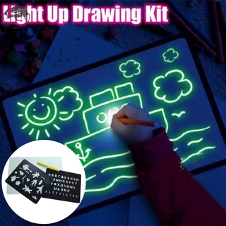 In stock Light up Drawing Fun Developing Toy Draw Sketchpad Board Portable for Children Kids