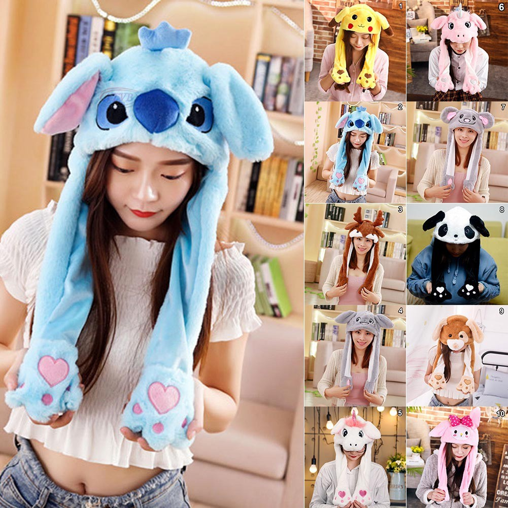 AB 1 Pcs Rabbit Animal Ear Hat Cap Plush Controllable Airbag Gift for Children Girl @TH