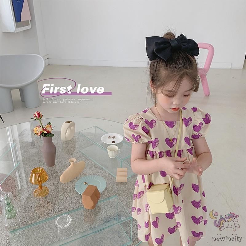 Đầm Công Chúa Vải Cotton Kiểu Hàn Quốc Thời Trang Mùa Hè Cho Bé Gái