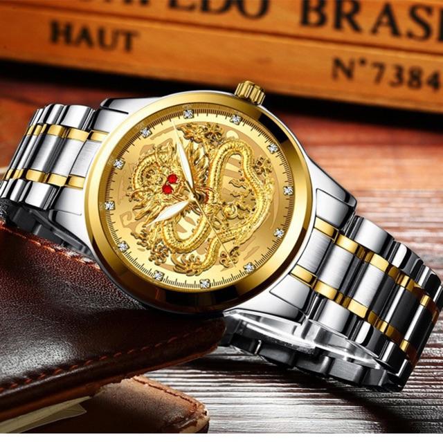 Đồng hồ nam mặt hình 3D rồng nổi bật quyền quý cực đẹp, kiểu dáng thời trang, phong cách lịch lãm ( Mã: AF23 )