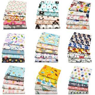 Set 5 Tấm Vải Cotton Hình Vuông Họa Tiết Hoạt Hình Dùng Để May Vá