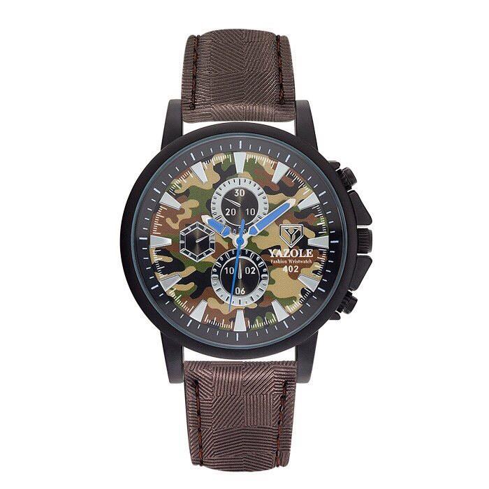Đồng hồ nam YAZOLE 402 dây da chính hãng cao cấp Fullbox chống nước tốt AH483