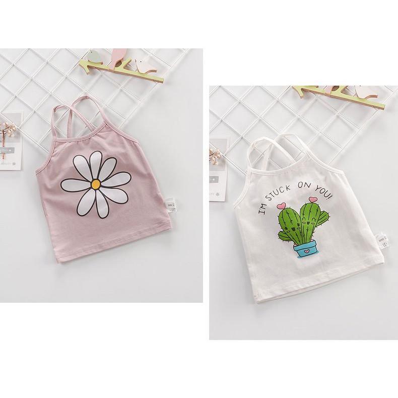 Áo Hai Dây  Áo Phông Hai Dây hoạt hình mùa hè xuất Hàn cho bé gái