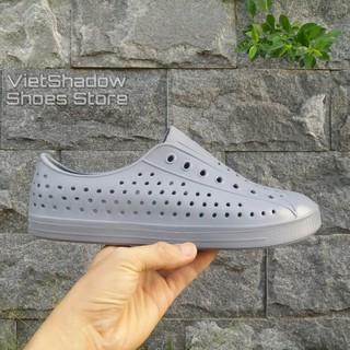 Giày nhựa đi mưa nam nữ - chất nhựa xốp siêu nhẹ, không thấm nước - Màu xám thumbnail