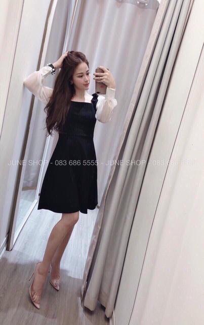 [SIÊU SALE] Đầm đen cổ vuông tay lưới dài