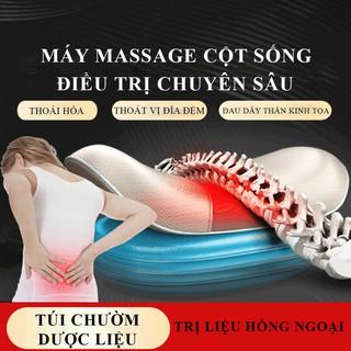 Máy massage cột sống có điều khiển, massage lưng sưởi ấm hồng ngoại, 3 cấp độ rung, phục hồi cơ bắp